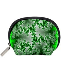 Green Fractal Background Accessory Pouches (small)  by Simbadda