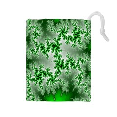 Green Fractal Background Drawstring Pouches (large)  by Simbadda