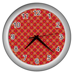 Abstract Seamless Floral Pattern Wall Clocks (silver)  by Simbadda