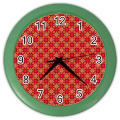 Abstract Seamless Floral Pattern Color Wall Clocks
