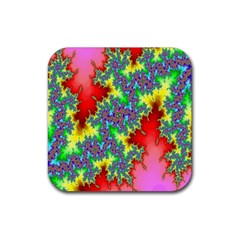 Colored Fractal Background Rubber Square Coaster (4 Pack)  by Simbadda