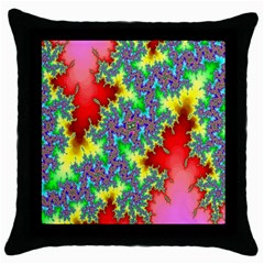 Colored Fractal Background Throw Pillow Case (black) by Simbadda