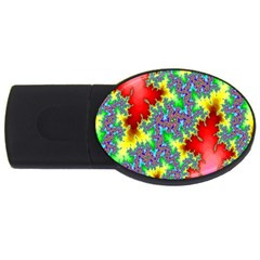 Colored Fractal Background Usb Flash Drive Oval (2 Gb) by Simbadda