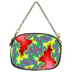 Colored Fractal Background Chain Purses (one Side)  by Simbadda