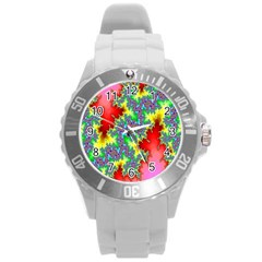 Colored Fractal Background Round Plastic Sport Watch (l) by Simbadda