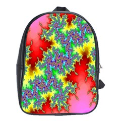 Colored Fractal Background School Bags (xl)  by Simbadda