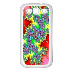 Colored Fractal Background Samsung Galaxy S3 Back Case (white) by Simbadda