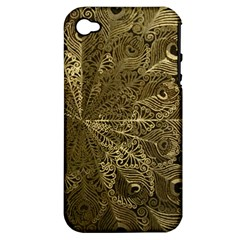 Peacock Metal Tray Apple Iphone 4/4s Hardshell Case (pc+silicone) by Simbadda