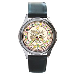 Peace Logo Floral Pattern Round Metal Watch by Simbadda