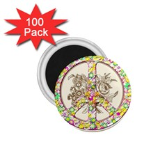 Peace Logo Floral Pattern 1 75  Magnets (100 Pack)  by Simbadda