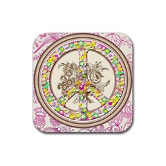Peace Logo Floral Pattern Rubber Coaster (square)