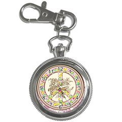 Peace Logo Floral Pattern Key Chain Watches by Simbadda