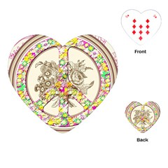 Peace Logo Floral Pattern Playing Cards (heart)  by Simbadda