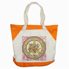 Peace Logo Floral Pattern Accent Tote Bag by Simbadda