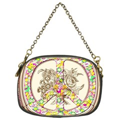 Peace Logo Floral Pattern Chain Purses (one Side)  by Simbadda