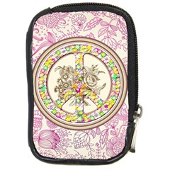 Peace Logo Floral Pattern Compact Camera Cases by Simbadda