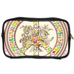 Peace Logo Floral Pattern Toiletries Bags by Simbadda