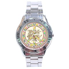 Peace Logo Floral Pattern Stainless Steel Analogue Watch