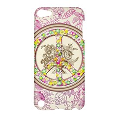 Peace Logo Floral Pattern Apple Ipod Touch 5 Hardshell Case by Simbadda