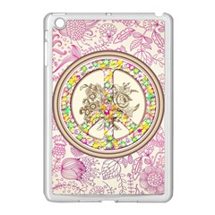 Peace Logo Floral Pattern Apple Ipad Mini Case (white) by Simbadda