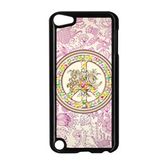Peace Logo Floral Pattern Apple Ipod Touch 5 Case (black) by Simbadda