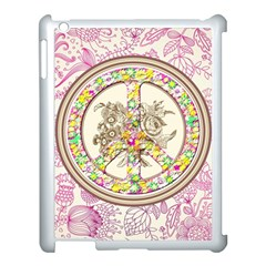 Peace Logo Floral Pattern Apple Ipad 3/4 Case (white) by Simbadda