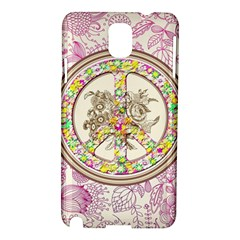 Peace Logo Floral Pattern Samsung Galaxy Note 3 N9005 Hardshell Case by Simbadda
