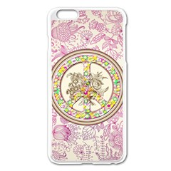 Peace Logo Floral Pattern Apple Iphone 6 Plus/6s Plus Enamel White Case by Simbadda