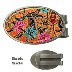 Colorful The Beautiful Of Art Indonesian Batik Pattern Money Clips (oval)  by Simbadda