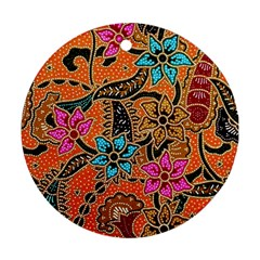 Colorful The Beautiful Of Art Indonesian Batik Pattern Round Ornament (two Sides) by Simbadda