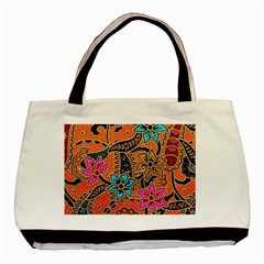 Colorful The Beautiful Of Art Indonesian Batik Pattern Basic Tote Bag (two Sides) by Simbadda