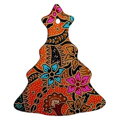 Colorful The Beautiful Of Art Indonesian Batik Pattern Christmas Tree Ornament (two Sides) by Simbadda