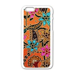 Colorful The Beautiful Of Art Indonesian Batik Pattern Apple Iphone 6/6s White Enamel Case by Simbadda
