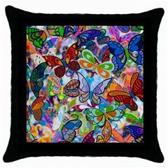 Color Butterfly Texture Throw Pillow Case (black)
