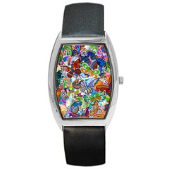 Color Butterfly Texture Barrel Style Metal Watch by Simbadda