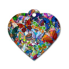 Color Butterfly Texture Dog Tag Heart (two Sides) by Simbadda