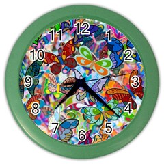 Color Butterfly Texture Color Wall Clocks by Simbadda