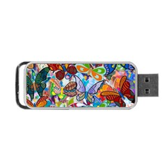 Color Butterfly Texture Portable Usb Flash (two Sides) by Simbadda