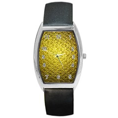 Patterns Gold Textures Barrel Style Metal Watch by Simbadda