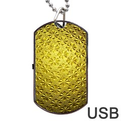 Patterns Gold Textures Dog Tag Usb Flash (two Sides) by Simbadda
