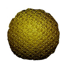 Patterns Gold Textures Standard 15  Premium Flano Round Cushions by Simbadda