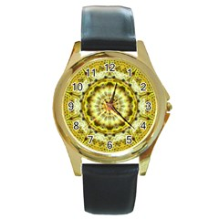 Fractal Flower Round Gold Metal Watch by Simbadda