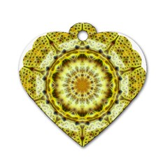 Fractal Flower Dog Tag Heart (two Sides) by Simbadda