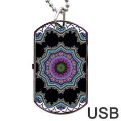 Fractal Lace Dog Tag Usb Flash (two Sides) by Simbadda