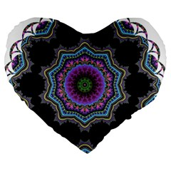 Fractal Lace Large 19  Premium Heart Shape Cushions by Simbadda