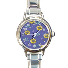 Floral Flower Rose Sunflower Star Leaf Pink Green Blue Yelllow Round Italian Charm Watch by Alisyart