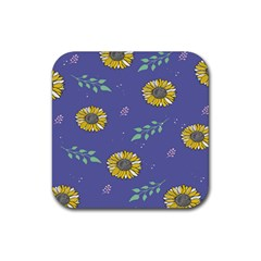 Floral Flower Rose Sunflower Star Leaf Pink Green Blue Yelllow Rubber Square Coaster (4 Pack)