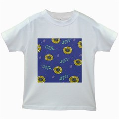 Floral Flower Rose Sunflower Star Leaf Pink Green Blue Yelllow Kids White T Shirts by Alisyart