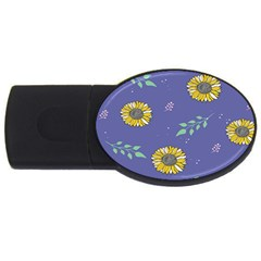 Floral Flower Rose Sunflower Star Leaf Pink Green Blue Yelllow Usb Flash Drive Oval (4 Gb)