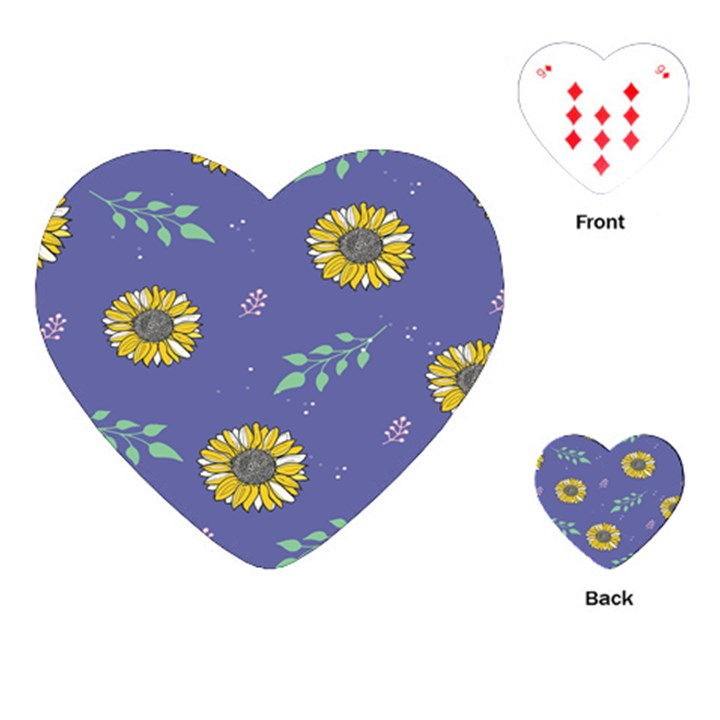 Floral Flower Rose Sunflower Star Leaf Pink Green Blue Yelllow Playing Cards (Heart)
